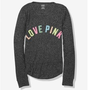 VS Pink Cozy Sleep Tee Rainbow PJ Pajama Top